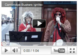 Kit Lee of Spaldwick performing on the streets of Cambridge