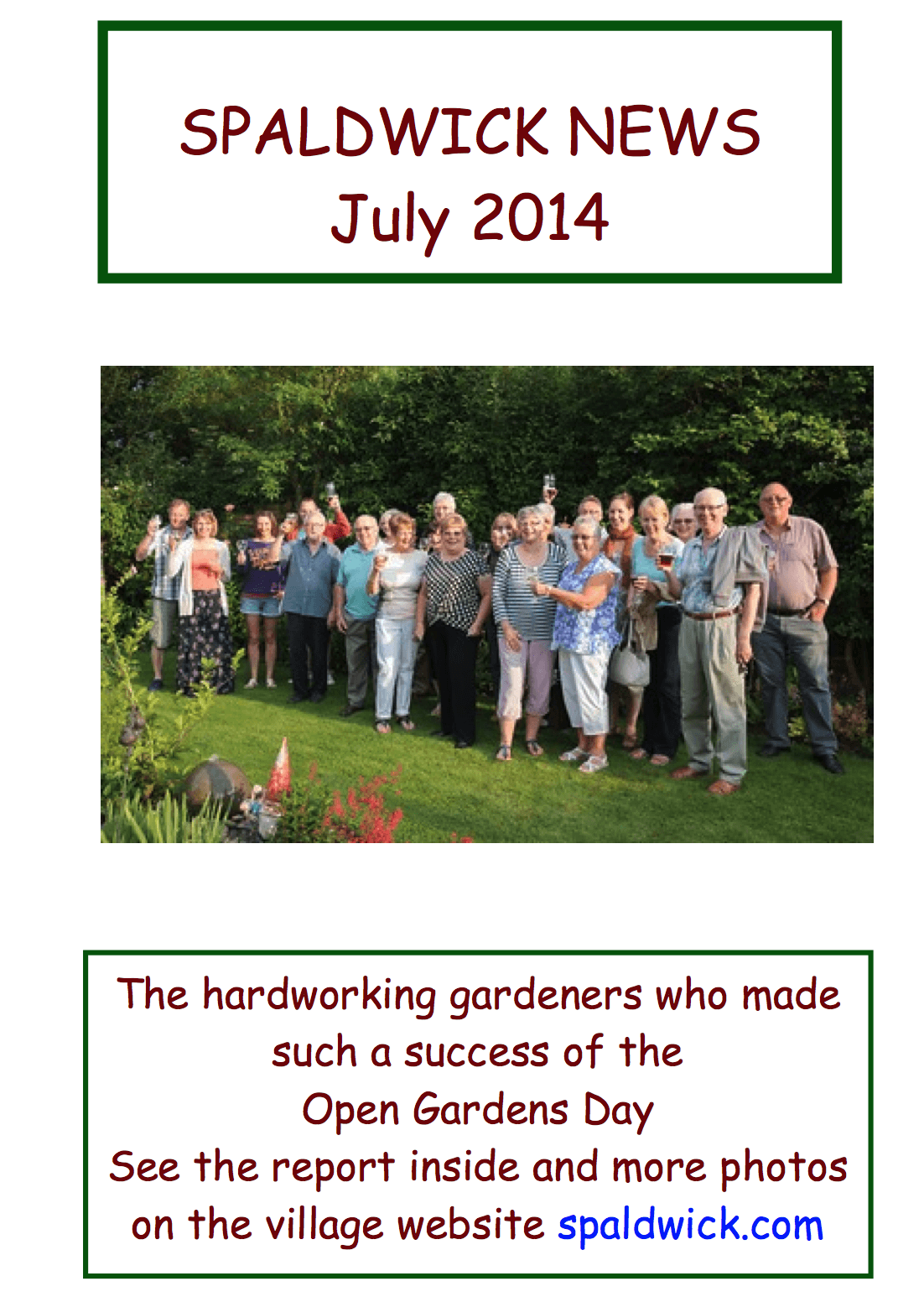 Spaldwick News for July 2014
