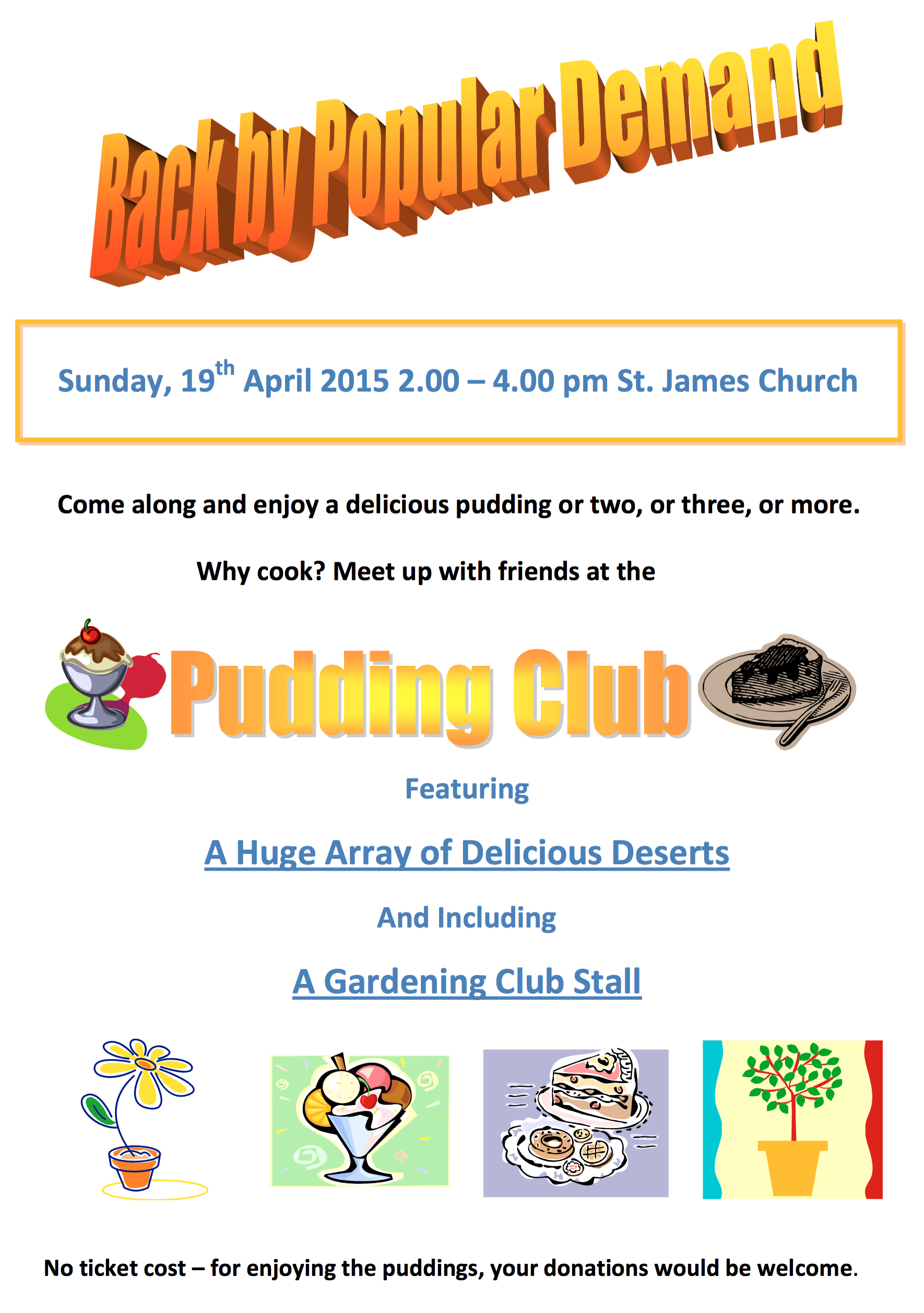 Flyer for pudding club