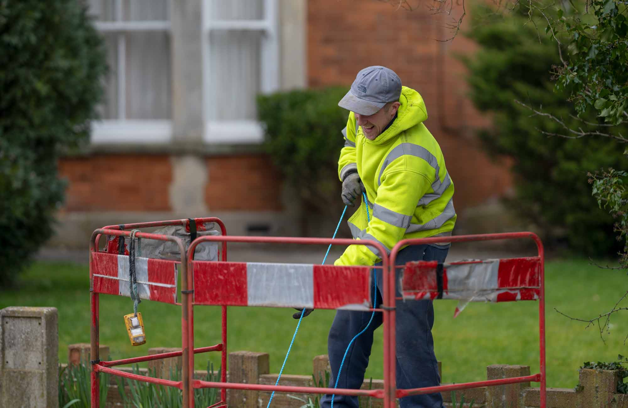 Fibre cable being pulled