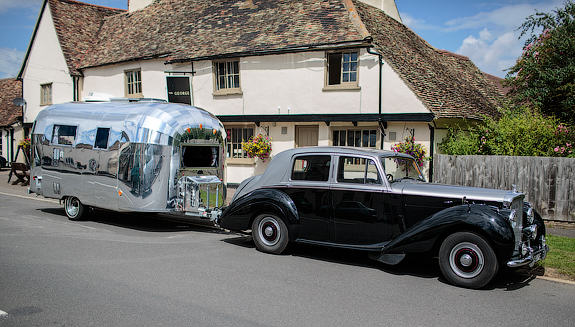 Photo of an interesting caravan outside The George in Spaldwick