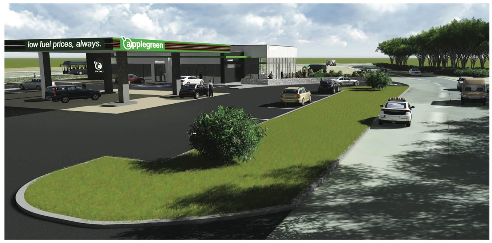 Plan for Spaldwick service station