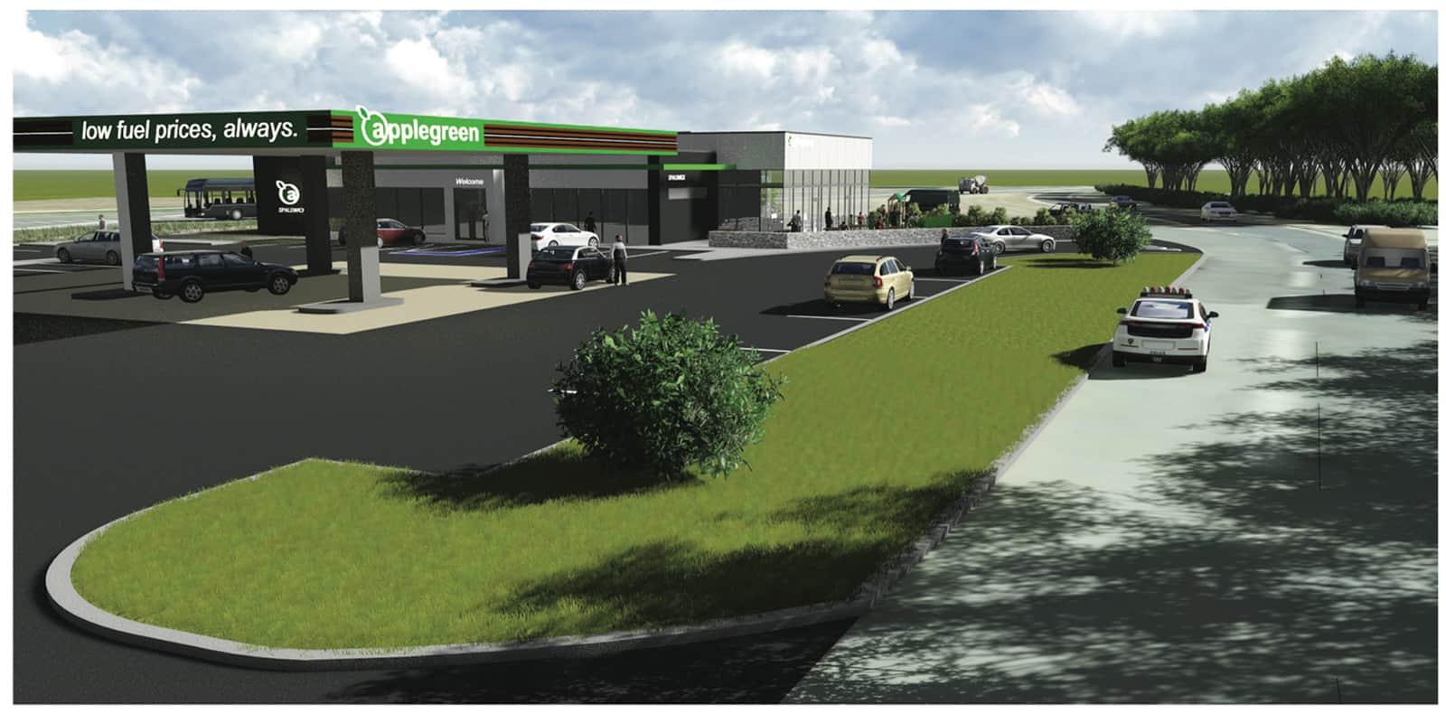 Plan for Spaldwick service station