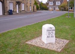 Photo of the Spaldwick milestone