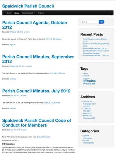 Screen shot of Spaldwick Parish Council website